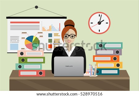 Business woman with office things. Finance report, concept. Audit at work analyzes the data of marketing investigations. Research vector illustration flat design.