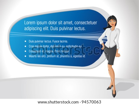 Business woman with presentation screen - stock vector