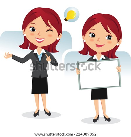 Business woman with whiteboard. Presentation. - stock vector