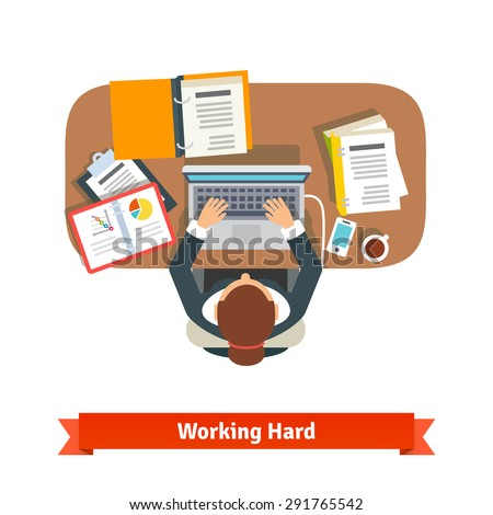 Business woman working hard sitting at the desk and typing on the laptop. Writing report. Top view flat vector illustration - stock vector