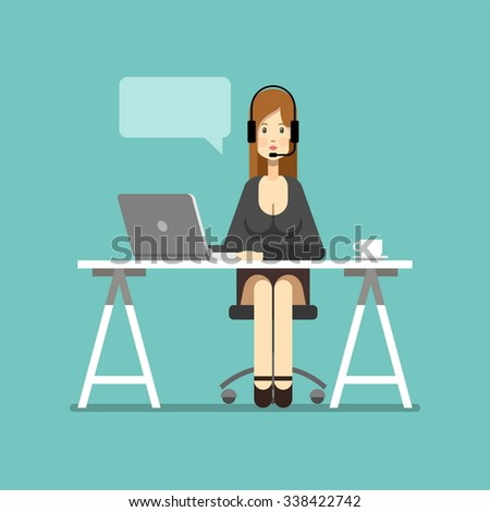 Business woman working in office. Support. Character design. Vector illustration, flat style. - stock vector