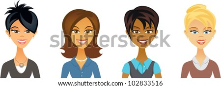 Business Women Avatars - stock vector