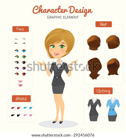 Business  women  illustration set - stock vector