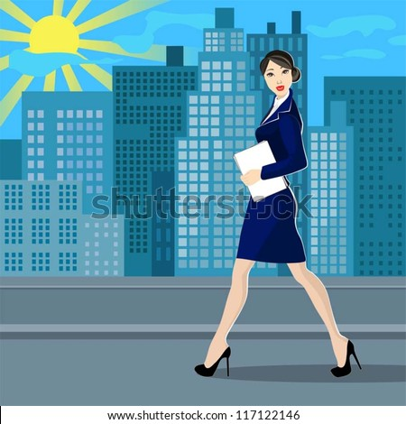 Business women in the street - stock vector