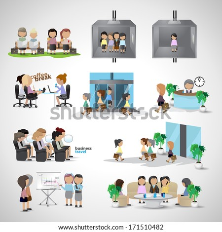 Business Women - Isolated On Gray Background - Vector Illustration, Graphic Design Editable For Your Design - stock vector