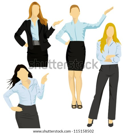 Business women show something, isolated on white background - stock vector