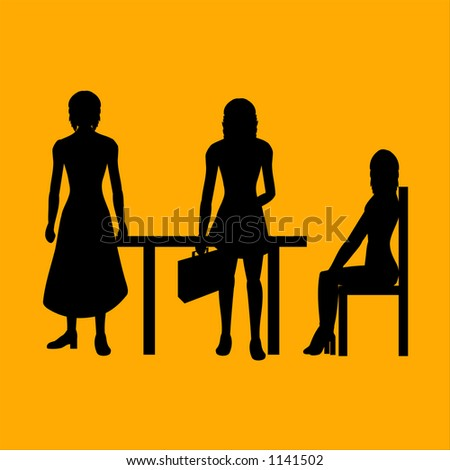 business women silhouette - stock vector