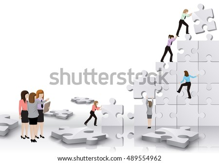 Business Women, Team Build A Puzzle - Isolated On White Background. Graphic Design Vector Illustration. For Web, Websites, Print Material, Business Concept
