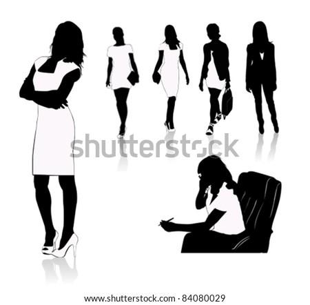 Business women.Victor illustration - stock vector