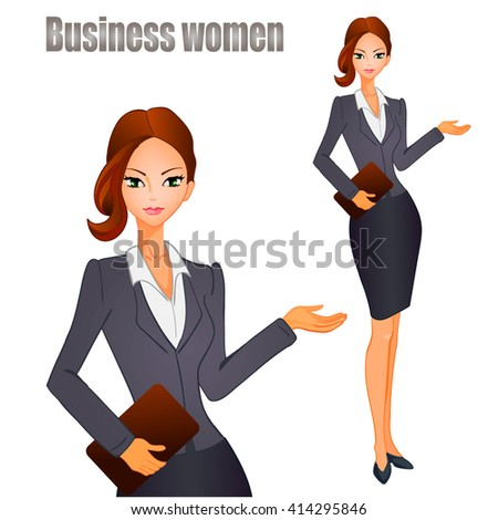 Business women with brown hair. VECTOR illustration. - stock vector