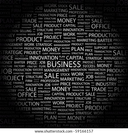BUSINESS. Word collage on black background. Illustration with different association terms. - stock vector
