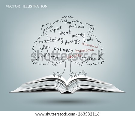 Business words in the tree growing out of an open book. The concept on the subject of business. Vector illustration modern template design - stock vector