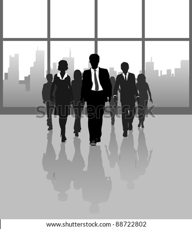 Business working team people approach under building concourse windows - stock vector