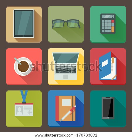 Business workplace icons set of notebook coffee tablet and mobile with shadows vector illustration - stock vector