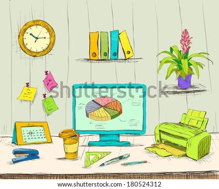 Business workplace office interior desk with computer stationery supplies files and documents hand drawn isolated vector illustration sketch - stock vector