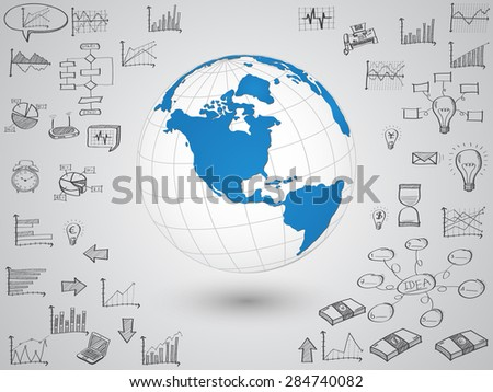 Business world map globe with creative doodle graph and chart, Vector Illustration EPS 10. - stock vector