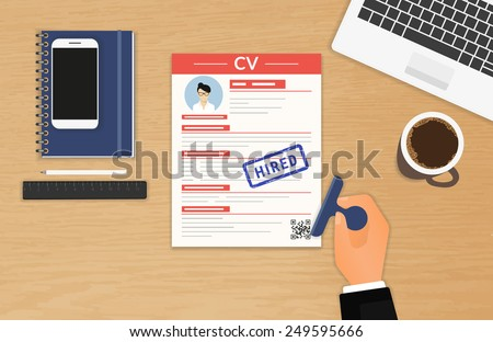 Businessman accepted CV sitting in the office - stock vector