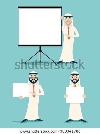 Businessman Advertising Sale Presentation Diagram Cartoon Character Arab Traditional National Muslim Clothes White Board Icon Stylish Background Retro Cartoon Design Vector Illustration - stock vector