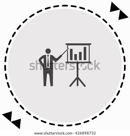 Businessman and blackboard icon Flat Design. Isolated Illustration. - stock vector