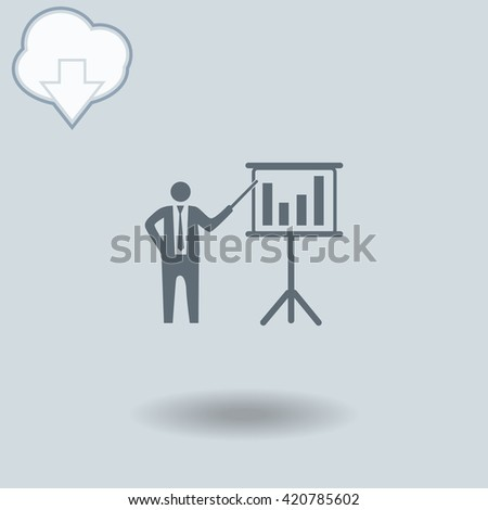 Businessman and blackboard icon with shadow. Cloud of download with arrow. - stock vector