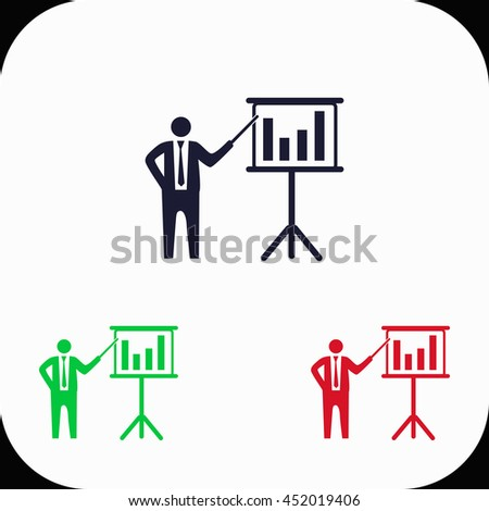 Businessman and blackboard Illustration set. Blue, green, red icon. - stock vector