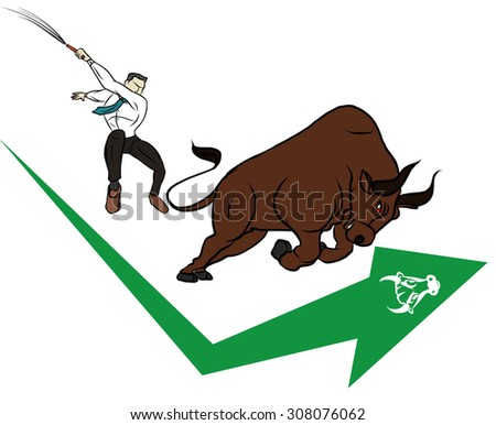 businessman and bull with stock symbol - stock vector