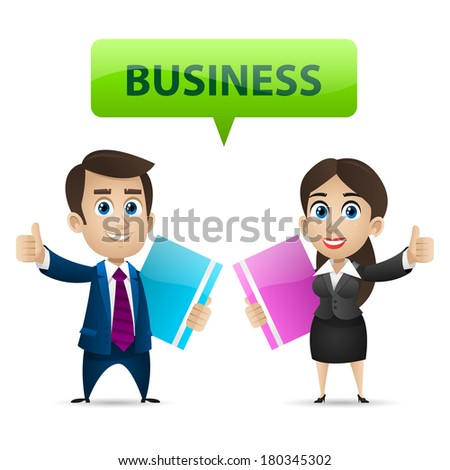 Businessman and business woman showing thumbs up - stock vector