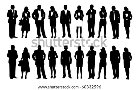 Businessman and Businesswoman figure, silhouette - stock vector