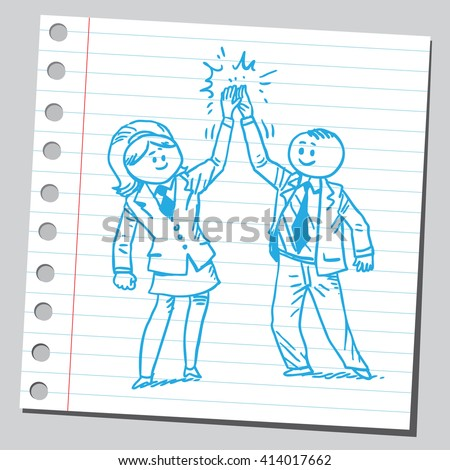 Businessman and businesswoman giving one another high five - stock vector