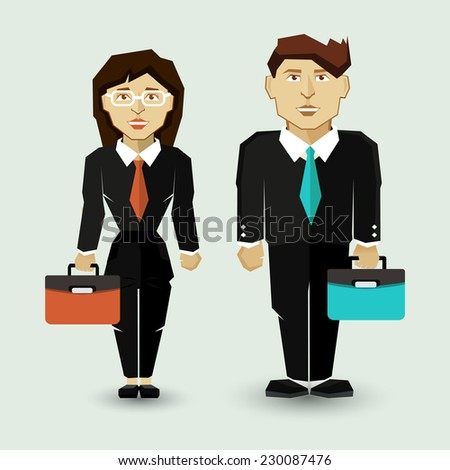Businessman and Businesswoman in Suit. - stock vector