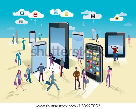 Businessman and businesswoman walking through a exhibition with variety of giants mobile devices, smartphones and digital tablets. These show the different operating systems and the applications. - stock vector
