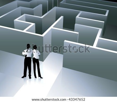 Businessman and Businesswoman with Maze Original Vector Illustration