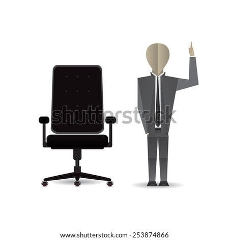 Businessman and chair. - stock vector
