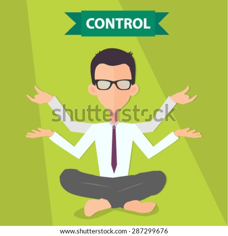 businessman and control concept in yoga position