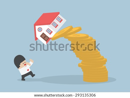 Businessman and falling house and coins, Real estate investing concept, VECTOR, EPS10 - stock vector