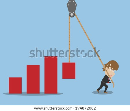 Businessman And Graph - stock vector