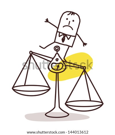 businessman and imbalance - stock vector