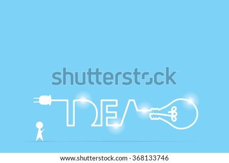 businessman and light bulb idea, idea and business concept - stock vector