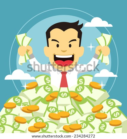 Businessman and money - stock vector