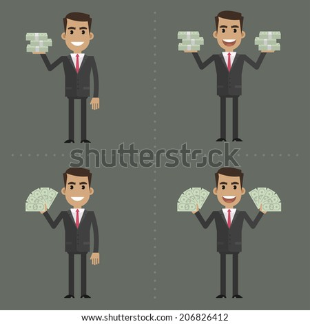 Businessman and money in different poses - stock vector