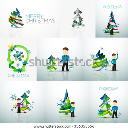 Businessman and New Year, Vector concept, set of illustrations - stock vector