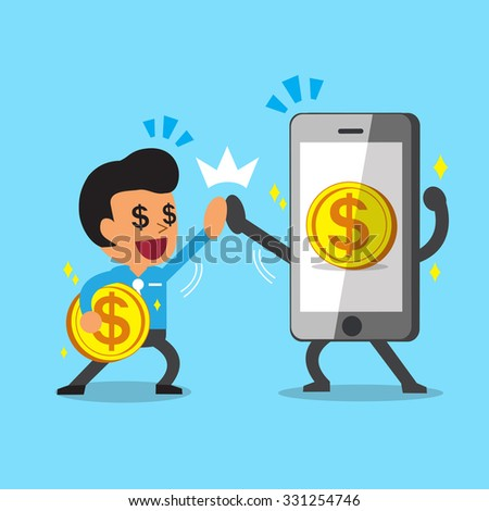 Businessman and smartphone earning money - stock vector