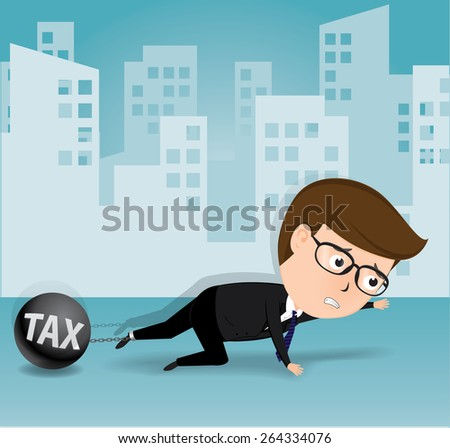 Businessman and tax, business concept, vector - stock vector
