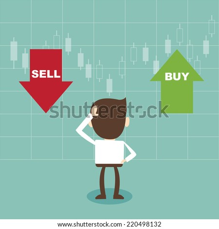 Businessman and the choice sell or buy - stock vector