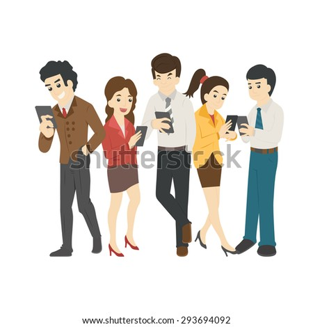 Businessman and woman looking at their phones , social addiction  , eps10 vector format - stock vector
