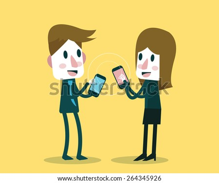 businessman and woman sharing and exchanging data with smartphone. flat character design. vector illustration - stock vector