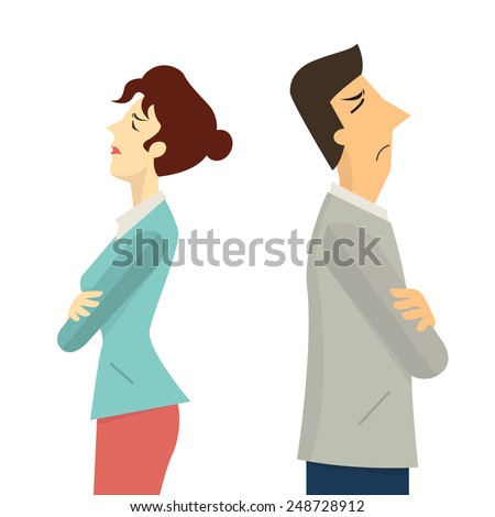 Businessman and woman turning their back to each other, business concept in conflict, angry, arguing, breakdown, or divorce.  - stock vector