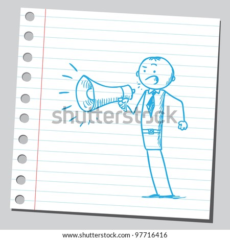 Businessman announcing something - stock vector