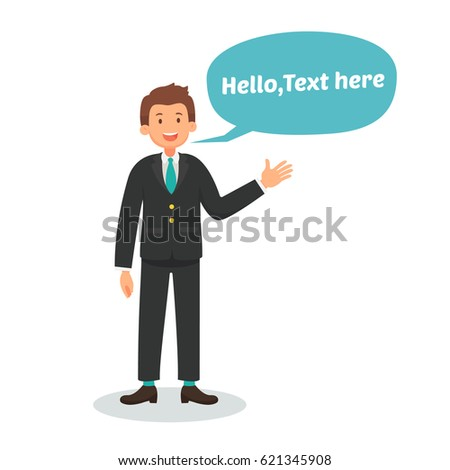 Businessman greeting talking presentation text bubble stock vector businessman are greeting talking presentation with text bubble speech vector illustration design m4hsunfo