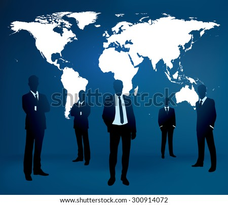 Businessman are standing in front of large world map.  - stock vector